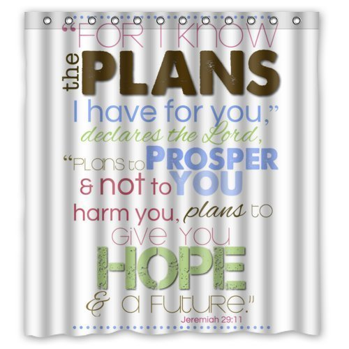 66(w) x 72(h) Bible Verse Shower Curtain, Jeremiah 29:11 For I Know The Plans I Have For You Pattern 100% Polyester Bathroom Shower Curtain Shower Rings Included by Christian Shower Curtain