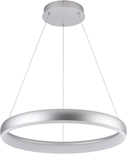 Royal Pearl Modern Foyer Pendant Light LED 1 Ring Contemporary Chandelier Round Shape Acrylic 25W 2200lm Silver