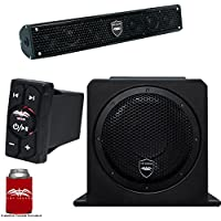 Wet Sounds Stealth 6 Surge Sound Bar w/WW-BTRS Bluetooth Controller and AS-10 10 500 Watt Powered Stealth Subwoofer