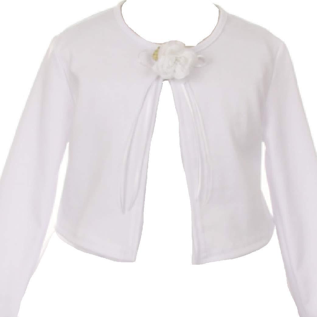 BluNight Collection Little Girls Long Sleeve Flower Girl Cardigan Sweater Bolero (13KD3) White 4