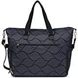 Breast Pump Bag Tote for Work with Staging Mat Sophisticated Design That Suits Workplace Thermally Lined Compartments Perfect Gift for New Moms (Black and Grey)