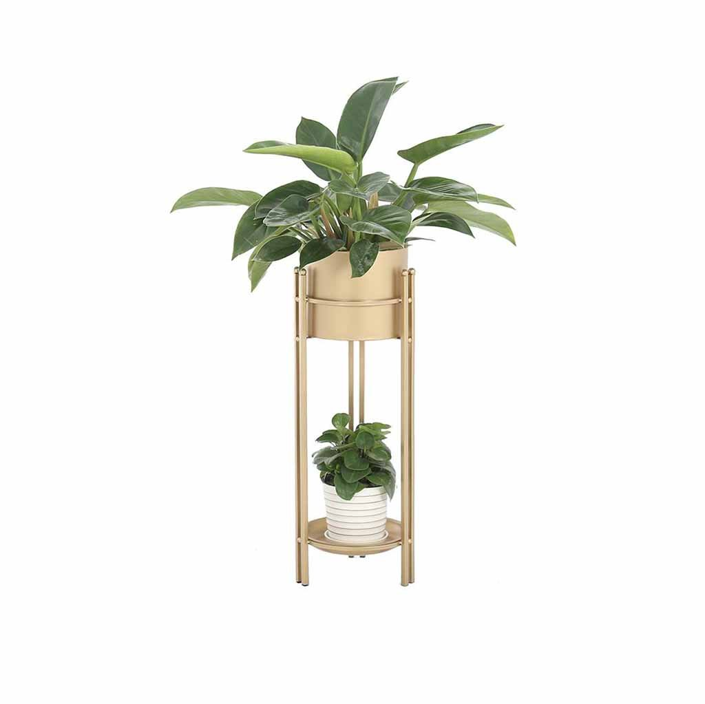 2 Tier Flower Stand Metal Living Room Balcony Plant Pot Rack Shelf Planter Decoration Display Holder Floor Support Indoor Outdoor Bonsai Succulents Iron Art (Color Golden) (Size : S) Myhj-Flower stand