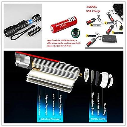 HappyGo UV flashlight/&LED Flashlight,395 UV Ray/&White light P6-T6,LED 6500 lm//FTC,Built-in 18650 lithium battery AAA Battery usable ,USB Charging IPX5,Pet urine detection Fluorescence detection,Z195