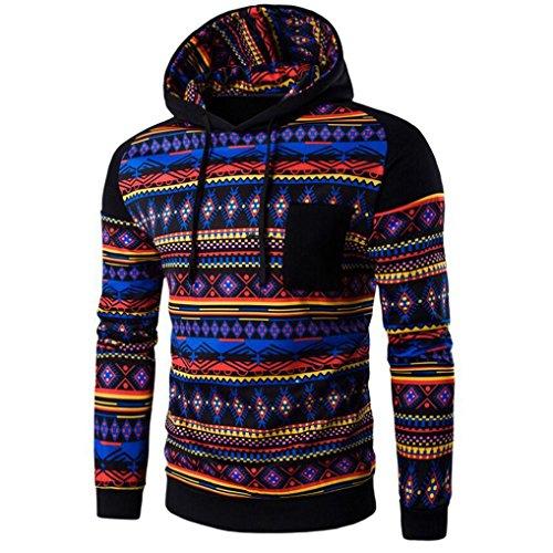 [XUANOU Men Bohemia Retro Hooded Sweatshirt Pullover Coat Outwear (XX-large, Black)] (Red Coat Army Costume)