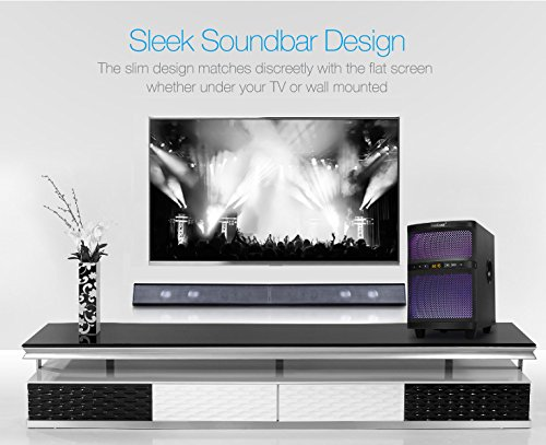 with 2.0 Channel, 40 Watt Speaker, Multi-Connection Methods, Remote Control and Optical Cable Included LuguLake Soundbar for TV 39 Wired and Wireless Bluetooth Audio Wall Mounted Sound Bar