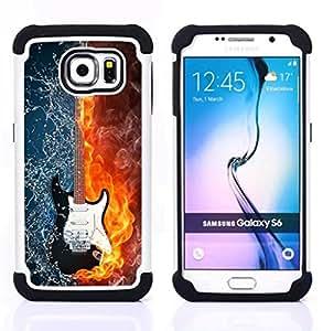 For Samsung Galaxy S6 G9200 - Water and fire guitar Dual Layer caso de Shell HUELGA Impacto pata de cabra con im????genes gr????ficas Steam - Funny Shop -