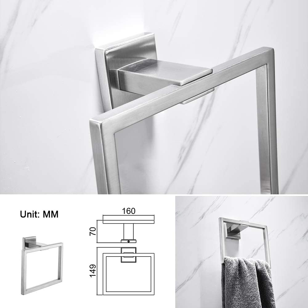 by  4-Piece Bathroom Accessory Set Umi Modern Stainless Steel Bathroom Hardware Brushed Nickel Wall Mounted,Double Towel Bar Rail Robe Hook Combo kit Towel Holder,Toilet Roll Holder