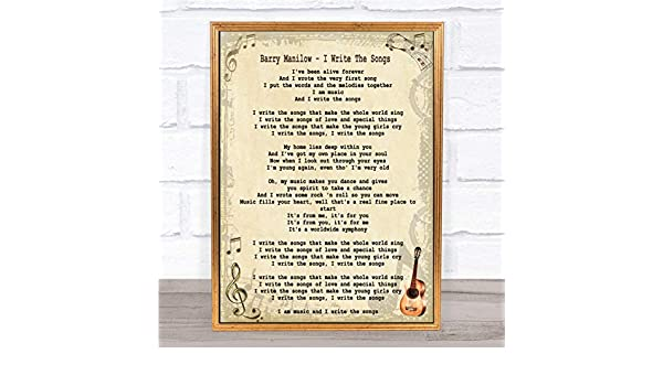 Amazon.com : I Write The Songs Song Lyric Quote Print ...