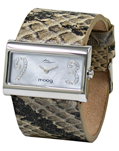 Moog Paris - Wild Origin - Women's Watch with gray mother of pearl dial, gray strap in Genuine calf leather, made in France - M41636F-005