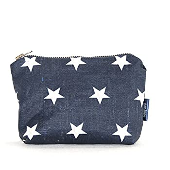 Retro Star Print Navy Coated Linen Coin Purse Change Purse Make Up Purse