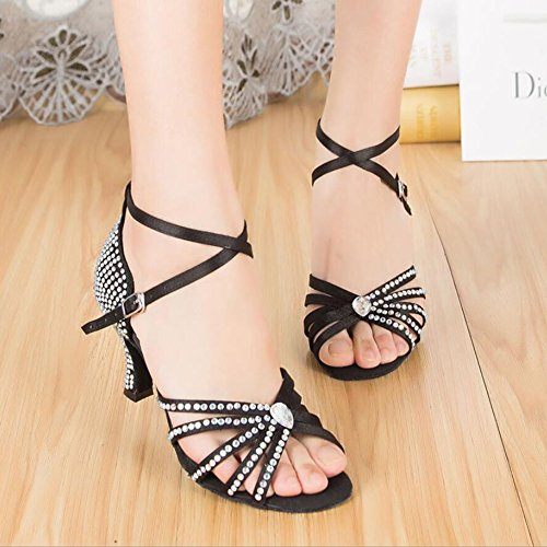 Shoes Satin XUE A Women's Color Ballroom A Black Size Flared Shoes Party Heel Sandal Shoes Latin Rhinestone Evening Dance amp; 41 1XqpwEq