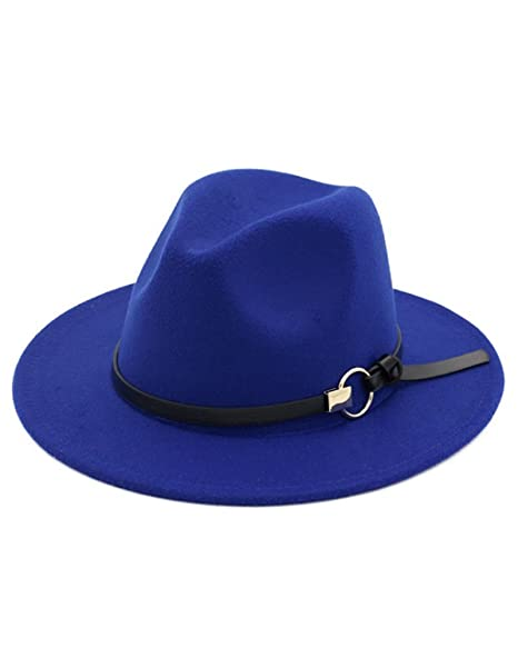 Hestenve Women Wide Brim Vintage Jazz Hat Fedora with Belt (One-Size ... 640c0230733