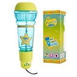 Echo Mic For Kids & Toddlers By Funky Toys - Magic Microphone Toy With Multicolored Flashing Light & Fun Rattle - Translucent Blue & Yellow - Great Gift For Boys & Girls Who Love Singing & Music
