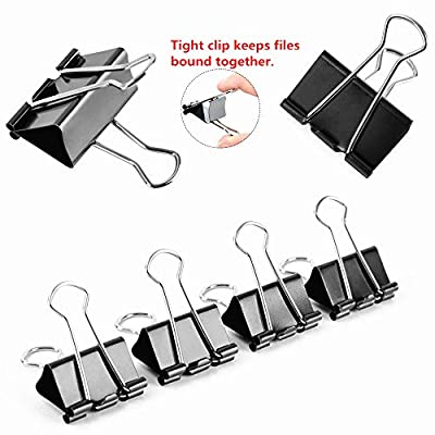 1.6'' Binder Clips Paper Clamp Large Capacity Holding for Paper Office Home(24-Pack)