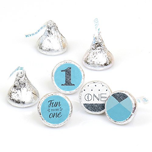 1st Birthday Boy - Fun to be One - First Birthday Party Round Candy Sticker Favors - Labels Fit Hershey's Kisses (1 sheet of 108)