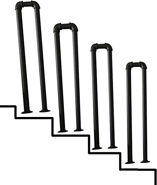 Suitable for Stairs Corridor U-Shaped Galvanized Pipe Black Water Pipe Shape Safety Railing Multi-Size Optional YUDE-Vintage Wrought Iron Stair Handrail