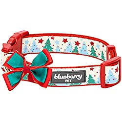 "Blueberry Pet 14 Patterns Moments of Fantasy Embrace Nature Designer Bowtie Dog Collar, Medium, Neck 14.5""-20"", Adjustable Collars for Dogs"