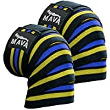 """Knee Wraps with Velcro for Cross Training WODs, Gym Workout, Weightlifting, Fitness & Powerlifting - Best Knee Straps for Squats - 72"""" - Great Compression with Elastic Support (Yellow-Blue)"""