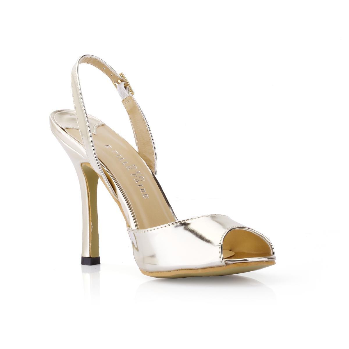 Best 4U® Sandalias de las mujeres espejo PU hebilla de metal Stiletto 10CM tacones altos Peep Toe Shoes Golden Summer Slingback