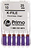 Primo Dental Products EFK2590140 K-File, 25 mm, 90/140, Assorted (Pack of 6)