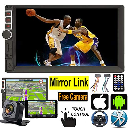 Car MP5 Player-7 Inch Double Din In Dash Car Android & IOS Stereo Radio Video Touch Screen Bluetooth SWC Mirror Link for GPS Navigation System with Free Backup Camera for 2005-2018 Nissan Pathfinder