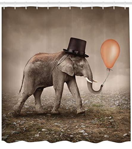 Abakuhaus Elefante Cortina De Baño, Elefante Ilusi...