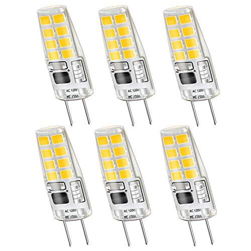 G8 LED Bulbs,Dimmable G8 LED Light Bulbs 3W(Equivalent to 20W Halogen G8 Led Bulb) Warm White 3000K for Light Fitting,Under Counter Kitchen Lighting,Under-Cabinet Light,Puck Light 120V AC(6 Pack)