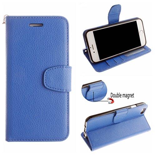 Voguecase® Pour Apple iPhone 6 Plus/6S Plus 5.5 Coque, Étui en cuir synthétique chic avec fonction support pratique pour Apple iPhone 6 Plus/6S Plus 5.5 (Dragonne-Litchi-Bleu)de Gratuit stylet l'écran
