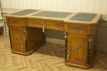 LouisXV Barock Schreibtisch Antik Stil Bureau Plat MoAl0360 antik Stil  Massivholz. Replizierte Antiquitäten Buche Antikmessing.