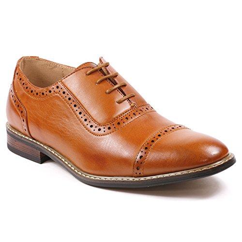 Metrocharm Alex-03 Men's Perforated Lace Up Cap Toe Oxford Dress Shoes (12, Cognac Brown)