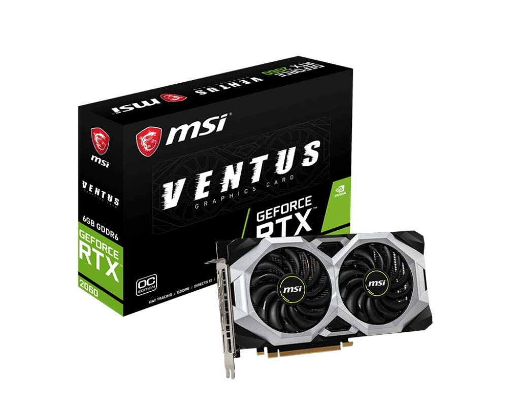 MSI GAMING GeForce RTX 2060 6GB GDRR6 192-bit HDMI/DP Ray Tracing Turing Architecture VR Ready Graphics Card (RTX 2060 VENTUS 6G OC) by MSI