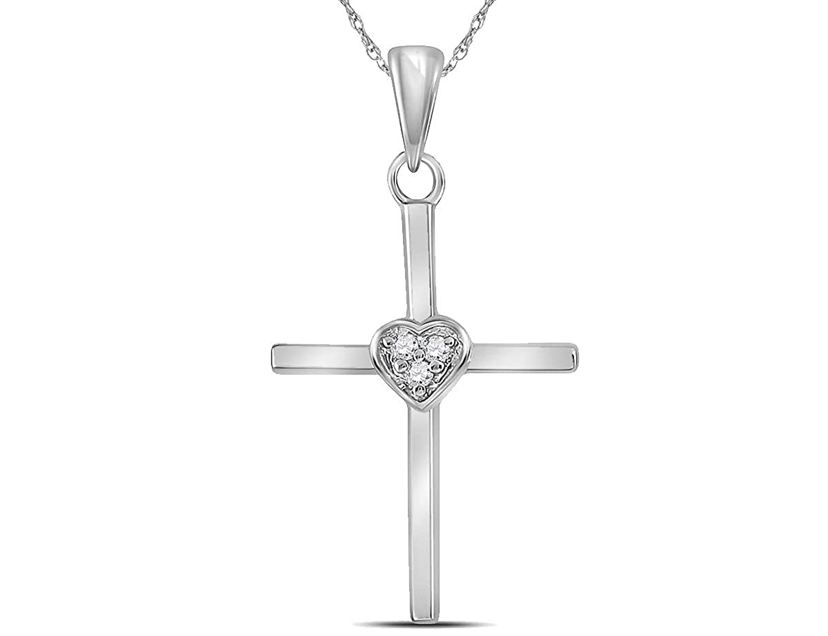 ctw J-K, I2-I3 in Sterling Silver with Chain Diamond Cross Heart Pendant Necklace 0.03 Carat