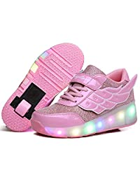 Nsasy Roller Shoes Unisex LED Light up Single Wheel Double Wheel Shoes Kids Inline Roller Skates Boy's Girl's Sneakers