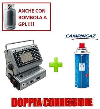 Estufa estufa a gas portátil doble casquillo GPL/Butano + 1 Cartucho original Campingaz (): Amazon.es: Jardín