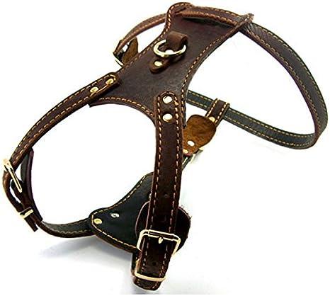 creatwls oscuro marrón suave piel ajustable perro caminar arnés ...
