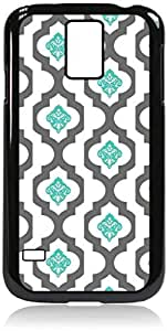 Grey Lattice and Blue Damask Pattern- Hard Black Plastic Snap - On Case-Galaxy s5 i9600 - Great Quality!
