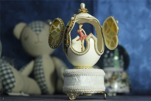 Music Box For Girls Easter Egg Artists Musicbox Butterfly Eggshell Art Music Box Ballerina Dance Ballet by Biscount