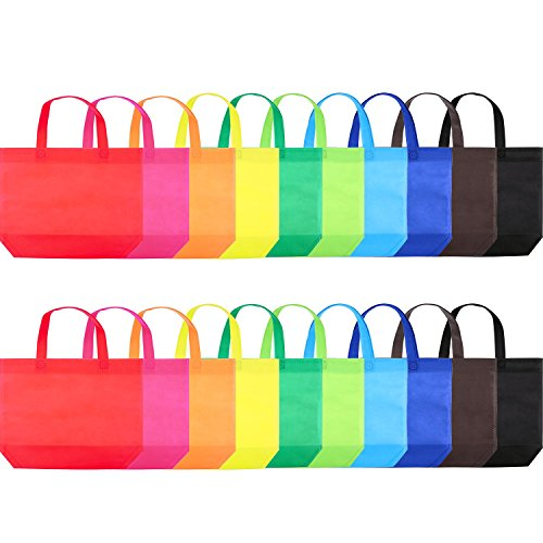 Chengu 20 Pieces 10 Color Non-Woven Canvas Bags Colorful Gift Tote Bags Candy Treat Bags with Handles for Party Favor, 13 x 10 Inch