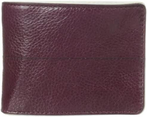 J.Fold Men's Stitched Panel Slimfold Wallet, Plum/Black