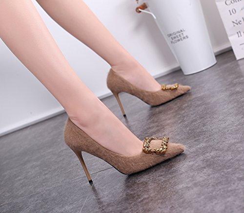 Zapatos Sandalias de Punta Alto Cuadrada tacón con de Mujer ZXMXY Marrón Ud1wOqU