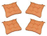 Set of 4 - In / Outdoor Orange & White Geometric Hockley Print Universal Tufted Seat Cushions with Ties for Dining Patio Chairs - Choose Size (17'' x 17'')