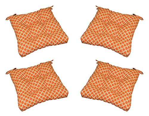 Cheap Set of 4 – In / Outdoor Orange & White Geometric Hockley Print Universal Tufted Seat Cushions with Ties for Dining Patio Chairs – Choose Size (20″ x 19″)
