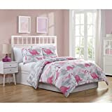 LO 3 Piece Kids Girls Gray White Pink Dinosaur Comforter Set Full Sized, Adorable Cute Dino Bedding Reptiles Raptors with Bows Purses Flowers Plants Jungle, Reversible Grey Microfiber