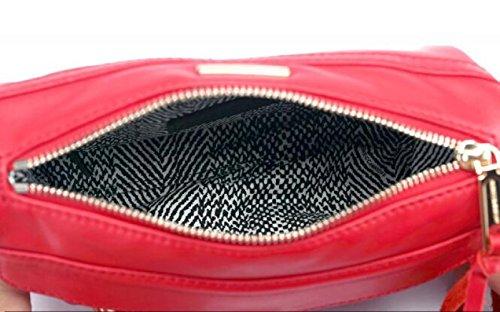 WenL Bolsos De Cuero Genuino De Piel De Vaca con Cremallera Bolsa De Hombro De Moda Messenger Bag Totes Baguettes,Red Black4