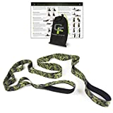 Gradient Fitness Stretching Strap, Premium Quality Multi-loop Strap, Neoprene Padded Handles, 12 Loops, 1.5' W x 8' L (Camo)