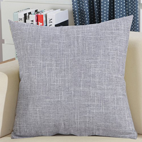 "Find-In-Find 22""x22"" Square Textured Linen Throw Pillows Sofa Cushion Covers,Grey"