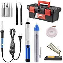 Soldering Iron Kit, Including 60W Temperature Control Soldering Iron with ON/OFF Switch, Tips, Solder Sucker, Desoldering Wick, Solder Wire, Anti-static Tweezers and Stand (toolbox)