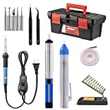 Soldering Iron Kit, Including 60W Temperature Control Soldering Iron with ON/OFF Switch, Tips, Solder Sucker, Desoldering Wick, Solder Wire, Anti-static Tweezers and Stand (toolbox) (toolbox)