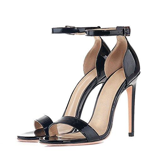 uBeauty Womens High Heel Sandals Ankle Strap Open Toe Buckle Heels Slingback Stiletto Heels Sexy Shoes Black RH2gL