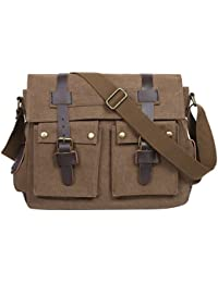 Men's Casual Canvas Flapover Crossbody Messenger Bag Shoulder Bag Business Bag Purse Laptop Computer Satchel Bag Bookbag School Bag,Brown01